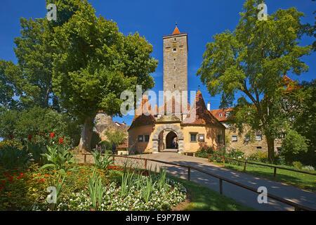 Burgtor gate at Castle Gardens in Rothenburg ob der Tauber, Bavaria, Germany - Stock Photo