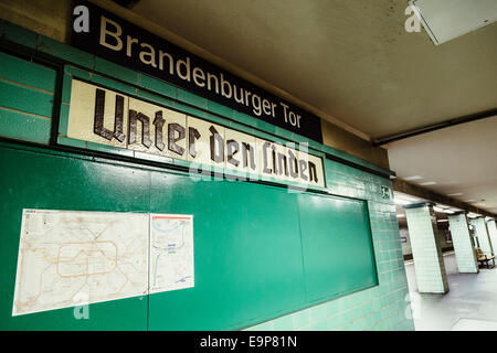 Brandenburger Tor (Unter den Linden) U-Bahn station sign and platform, Berlin, Germany - Stock Photo