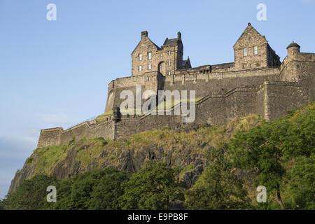 View of castle on volcanic plug, Edinburgh Castle, Edinburgh, Scotland, July - Stock Photo