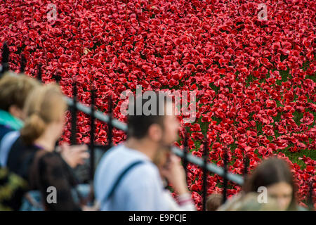 London, UK. 30th Oct, 2014. Last Post with Blood Swept Lands and seas of red - The names of the dead are read out - Stock Photo