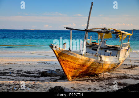 Old boat at beach of Bira, Sulawesi, Indonesia - Stock Photo