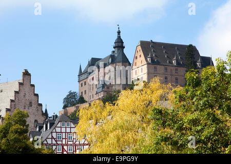 Marburg Castle, Landgrafenschloss, Marburg, Hesse, Germany, Europe, - Stock Photo