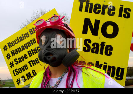Blackpool, UK. 31st October, 2014.  Frack Free Lancashire_Local Residents opposed to proposed fracking demonstrate - Stock Photo