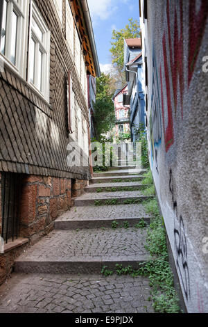 stairway, historic centre, Marburg, Hesse, Germany, Europe, - Stock Photo