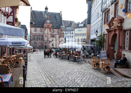 Historic Town Hall, market square, historic centre, Marburg, Hesse, Germany, Europe, - Stock Photo