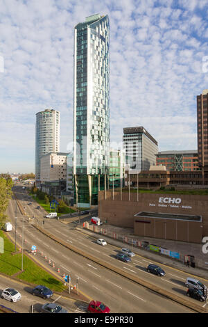 West Tower, Liverpools tallest skyscraper. Headquarters of property developer Beetham - Stock Photo