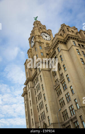 Royal Liver Building at Pier Head in Liverpool, one of Liverpools Three Graces. Head office of the Royal Liver Assurance - Stock Photo