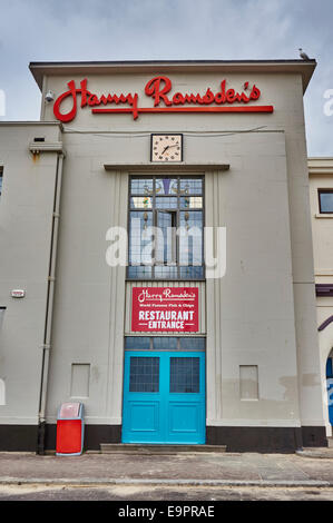 Harry Ramsden's fish and chip restaurant facing the beach and sea at Bournemouth, Dorset, England, UK. - Stock Photo