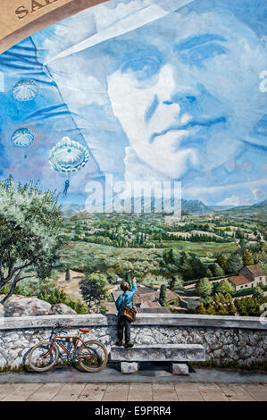 Mural about the French World War Two resistance fighter Jean Moulin at Saint-Andiol, Bouches-du-Rhône, France - Stock Photo