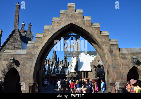 Entrance to the Wizarding World Of Harry Potter at Universal Resort - Stock Photo