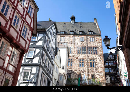 Steile Strasse street, Reitgasse, historic half-timbered houses, historic centre, Marburg, Hesse, Germany, Europe - Stock Photo