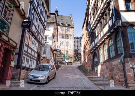 Steile Strasse street, Reitgasse, historic half-timbered houses, historic centre, Marburg, Hesse, Germany, Europe, - Stock Photo