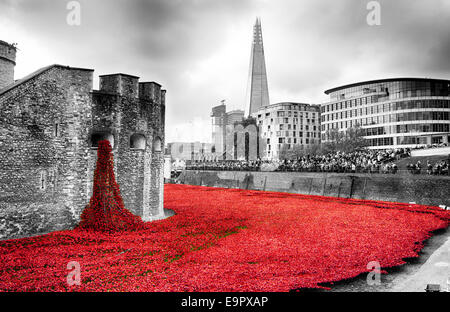Blood Swept Lands and Seas of Red display at the Tower of London.    Desaturated to remove colour from the surrounding - Stock Photo