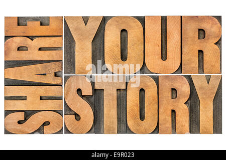 share your story word abstract  - isolated text in vintage letterpress wood type - Stock Photo