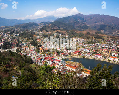 General view of Sapa Town, Lao Cai, North Vietnam. - Stock Photo