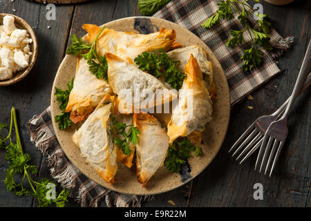 Homemade Greek Spanakopita Pastry with Feta and Spinach - Stock Photo