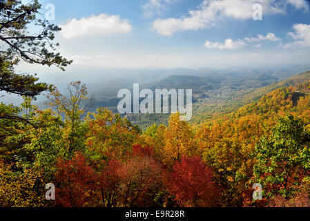 It is early in the October morning in Great Smoky Mountains National Park at the peak of autumn's colors. - Stock Photo