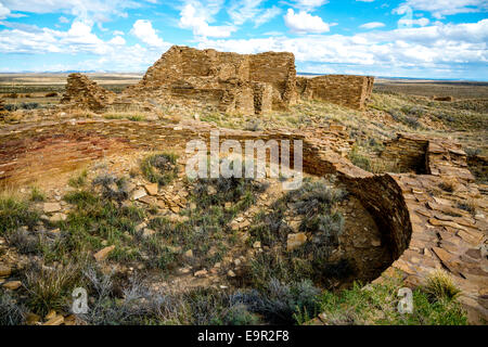 Pueblo Pintado is an Anasazi ruin in Chaco Canyon in northern New Mexico. It was built in 1060-1061 A.D. by Pueblo - Stock Photo