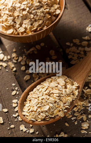 Organic Raw Dry Oats in a Bowl - Stock Photo