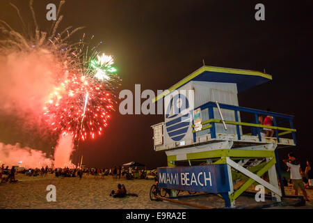 Miami Beach Florida 4th Fourth Of July Fireworks Display Burst Night Lifeguard Station Celebration Sand