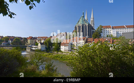 View to old town with Church of St. Peter and Paul in Görlitz, Germany - Stock Photo