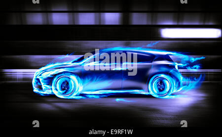 Covered in burning blue flames sports car racing along a tunnel, side view - Stock Photo
