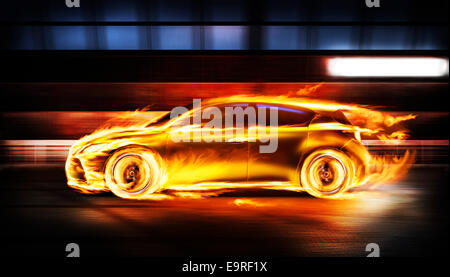 Covered in burning flames sports car racing along a tunnel, side view - Stock Photo