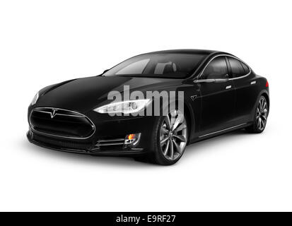 Black 2014 Tesla Model S luxury electric car isolated on white background with clipping path - Stock Photo