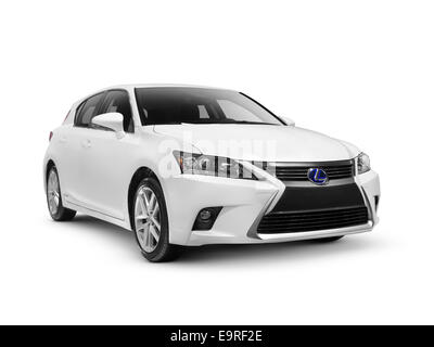 White 2014 Lexus CT 200h compact luxury hybrid hatchback car isolated on white background with clipping path - Stock Photo
