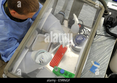 Munich, Germany. 31st Oct, 2014. A solider practices using a glove box in the training area of the Microbiologist - Stock Photo