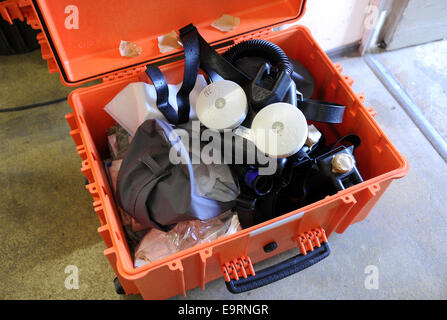 Munich, Germany. 31st Oct, 2014. A transport case with equipment in the training area of the Microbiologist Institute - Stock Photo