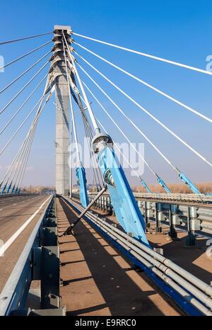 Kirovsky cable bridge through Samara River, Russia - Stock Photo
