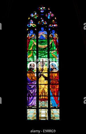 Stained Glass Window in Basilica of Santa Maria del Mar in Barcelona, Catalonia, Spain. - Stock Photo