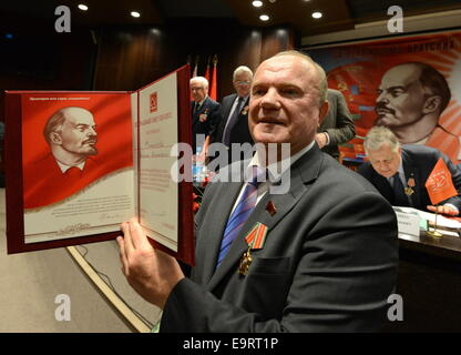 Minsk, Belarus. 1st Nov, 2014. Russia's Communist Party leader Gennady Zyuganov attends the 35th Congress of the - Stock Photo