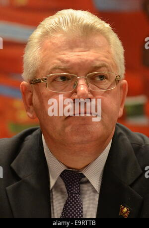 Minsk, Belarus. 1st Nov, 2014. Igor Karpenko, First Secretary of the Central Committee of the Communist Party of - Stock Photo