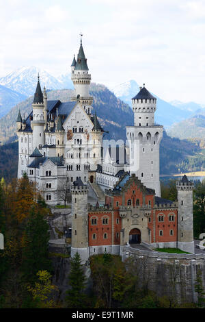 NEUSCHWANSTEIN CASTLE SEEN FROM THE EAST. Hohenschwangau, Füssen, Bavaria, Germany. - Stock Photo
