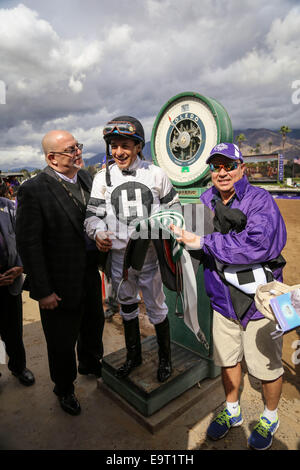 Arcadia, CA, USA. 1st Nov, 2014. November 1, 2014: Take Charge Brandi and Victor Espinoza win the Breeders' Cup - Stock Photo