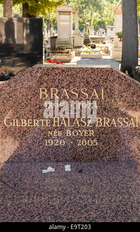 graveside of french photographer of hungarian descent brassai, pseudonym of gyula halász, montparnasse cemetery - Stock Photo