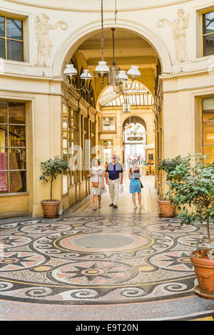 view from rotunda towards the entrance of the historic indoor shopping mall galerie vivienne,  paris, ile de france, - Stock Photo