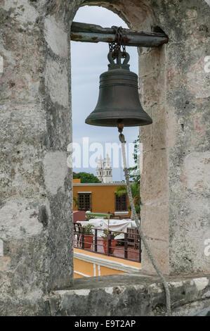 Puerta de Tierra bell, Campeche, Mexico. - Stock Photo