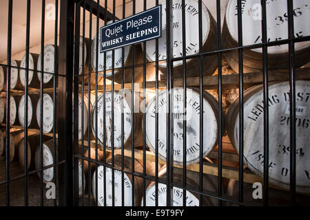 Single Malt Whisky, Ledaig, maturation process in oak casks in secure bonded warehouse storage at Tobermory Distillery - Stock Photo