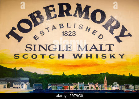 Sign at Tobermory Distillery for Single Malt Scotch Whisky on the Isle of Mull in the Western Isles of SCOTLAND - Stock Photo