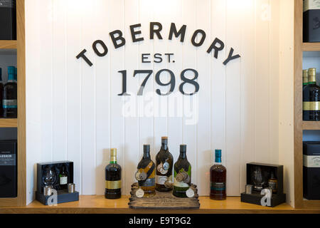 Medal winning single malt Scotch whisky, Ledaig and Tobermory at Tobermory Distillery on the Isle of Mull in the - Stock Photo