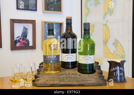Scotch single malt whisky, Ledaig and 10-year-old Tobermory with dram glasses for dramming (tasting) at Tobermory - Stock Photo