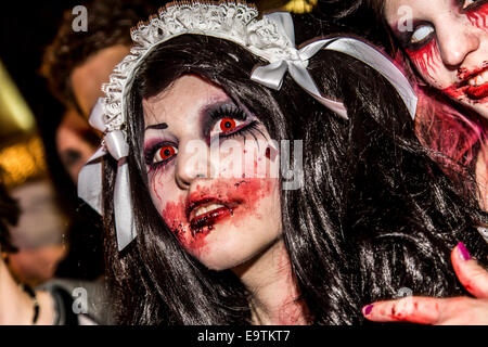 Zombie walk, a Halloween event, where more than 1000 people dressed and makeup, meet and walked through the city - Stock Photo