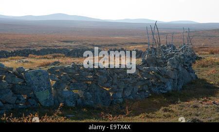 Ancient stone fence of reindeer herding - Stock Photo