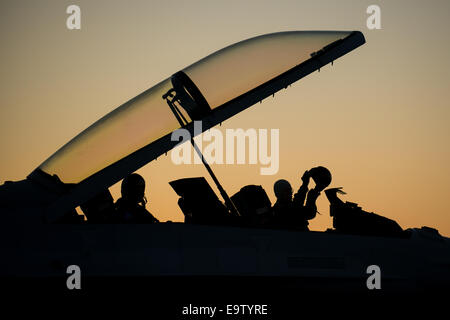 Republic of Korea Air Force F-16 Fighting Falcon aircraft pilots prepare to take off during Red Flag-Alaska 15-1 - Stock Photo