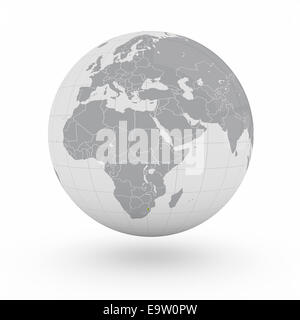 Swaziland on globe isolated on white background - Stock Photo
