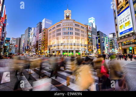 The Ginza District at Wako Department store in Tokyo, Japan. - Stock Photo