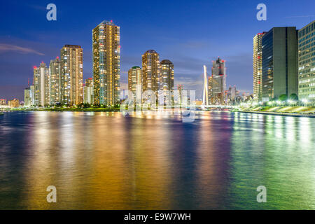 Tokyo, Japan residential skyscrapers on Tsukishima Island. - Stock Photo